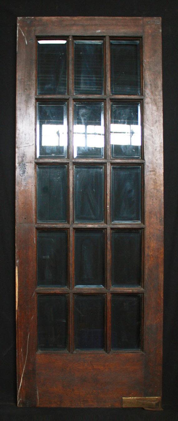 30 X 80 Antique Interior French Swinging Birch Door 15 Beveled Glass Lites From