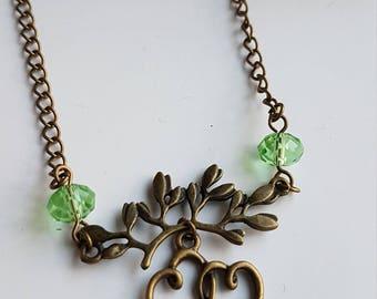 Doux coeur - collier vert, Double coeur collier