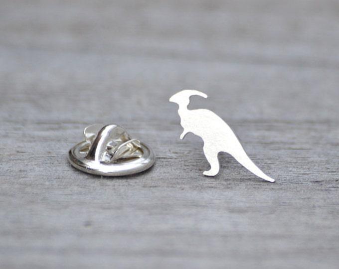 Parasaurolophus Dinosaur Pin In Sterling Silver, Handmade In The UK