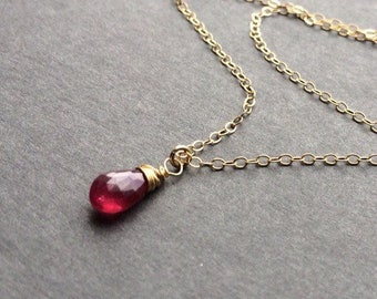 Ruby pendant etsy tiny red ruby pendant necklace genuine stone july birthstone gift minimalist delicate jewelry gold or silver rose gold aloadofball Gallery