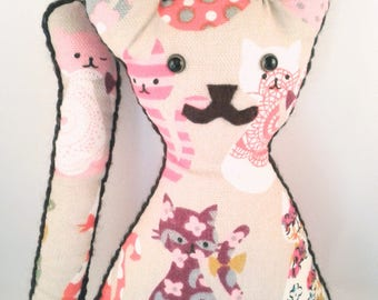 Cat, Plush toy, Handmade doll, handmade, Fabric doll, cat doll, cloth doll,  gift, girl, boy, one of a kind, cute