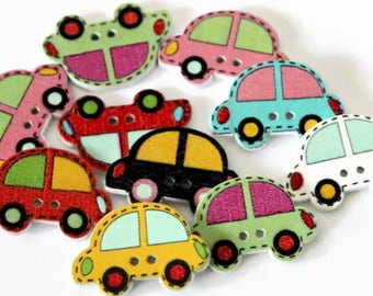 10 Car Buttons 22mm x 30mm - Vehicle Buttons - Car Shapes - Mixed Coloured - White Wood - Boys Button - Transport Novelty Buttons - PW374