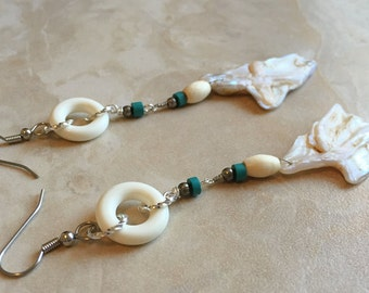 50% OFF Cultured Pearl Beaded Earrings - Pearl and Turquoise Dangle Earrings (Ready to Ship)