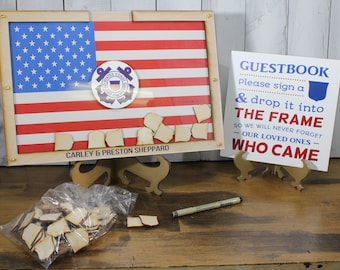 Personalized Guest Book/Flag/Air Force/Navy/Patriotic/Coast Guard/Military/Retirement/Guest Book/Wood Shape/Alternative/Shield/Free Shipping
