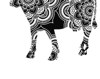 Mandala Zen Tangle Cow SVG