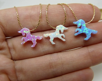 Unicorn necklace, Unicorn jewelry, Pink unicorn, Horse necklace, Fantasy jewelry, Kids necklace, Unicorn opal necklace