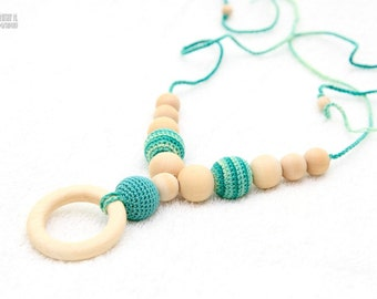 Organic Teething necklace with wooden ring pendant, Breastfeeding accessory, Nursing mom necklace