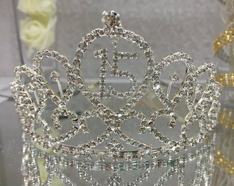 Pointed Sweet 15 Mis Quince Anos Silver Rhinestone Tiara Favor Gift Keepsake