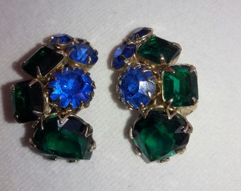 Rhinestone Royal Blue and Emerald Green Vintage Clip On Earrings