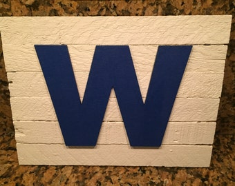 """Chicago Cubs W Rustic Wooden Sign 12"""" X 9"""""""