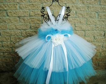 TURQUOISE AND WHITE - Tutu Dress - Tiered Tutu Dress - Flower Girl Gown - Pageant Dress - First Birthday Dress - Turquoise Tutu Dress -