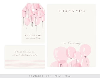 Baby Shower Thank You Card Girl | Baby Shower Thank You Printable, Baby Shower Gift Tag, Editable, Printable Template, Instant Download PDF