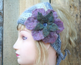 Angora Crochet Headband with Felted Flower-Lavender, Yellow, Grey Art Yarn-  Ear Warmer, Ear Muffs