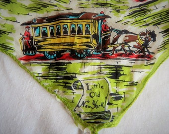 "Vintage New York City Silk Scarf ""Little Old  New York"" 34"" x 34"""