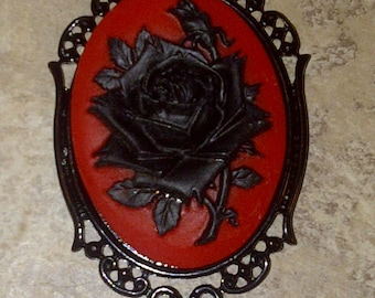 Black Red Rose Flower Goth Steampunk Rockabilly Necklace Pendant Cameo