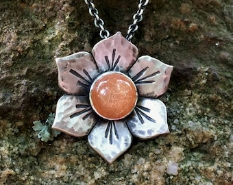 Sterling Silver Flower Necklace, Orange Sunstone, Statement necklace, Flower Jewelry for Women, Silver flower
