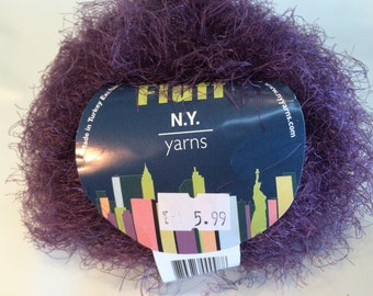 Hand Knitting Yarn, Acrylic Yarn, Fluff Yarn by New York Yarns, Angora Like, Fuzzy, Washable, Feminine, Lace, Glamor, Dressy, Grape Color