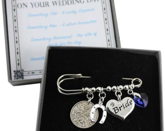Wedding Bridal Charm Pin, Bridal Shower, Lucky Silver Sixpence,Something Old, New, Borrowed, Blue. Wedding Gift for Bride