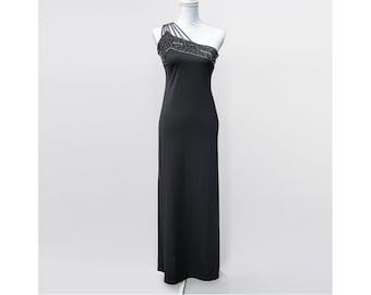 90s Vintage One Shoulder Dress   Black Maxi Evening Dress   Long Black Prom Gown - Size M Medium