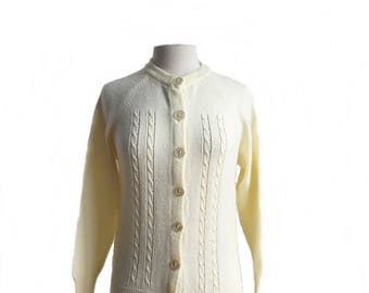 Vintage 60s white cardigan/ winter white preppy sweater/ cream ivory cardigan/ cable knit detail