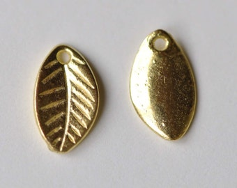 50 pcs Gold Tone Leaf Charms 7x11mm A8610