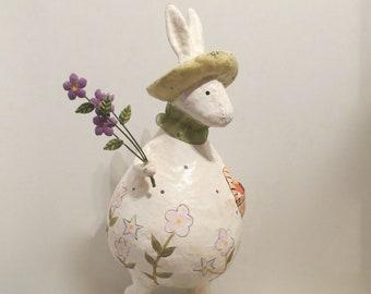 """Paper Mâché Rabbit with Easter Eggs Vintage 13""""H"""