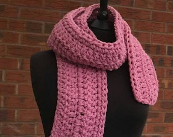 Crochet scarf, pink scarf, chunky scarf, winter scarf, scarf, handmade scarf, crocheted scarf, retro scarf, long scarf,womens scarf.