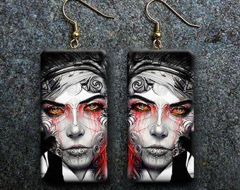 Steampunk art polymer clay earrings