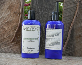 Lemongrass Hand Lotion! 4 oz aloe lotion, lemon scented lotion, clean lotion, Hemp Oil lotion, aromatherapy lotion, scented hand cream