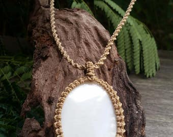 Shell Macrame Necklace / Beachy / Pendant / Wrapped / Sandy