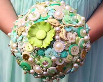 Wedding button bouquet - Mint green and ivory wedding flowers for Bride or Bridesmaid, UK seller