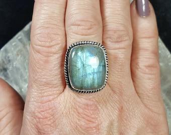 Blue Labradorite Statement Ring - Size 8