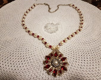 Red and White Pearl Necklace w/ Pendant