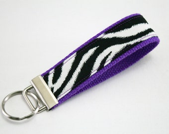 Fabric Key Fob, Key Chain, Key Ring, Key Holder, Wristlet Key Fob, Wristlet Keychain, Fabric Key fobs-Zebra purple