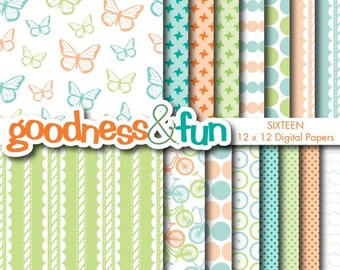 Buy 2, Get 1 FREE - Lazy Spring Day Papers - Digital Spring Paper Pack - Instant Download