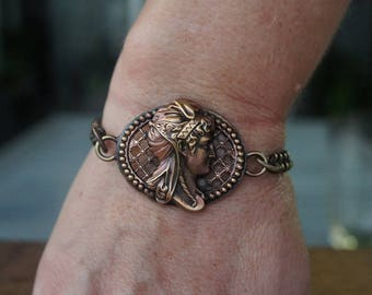 French Brass Stamping Ornate Classical Cameo Ladies Face Bracelet