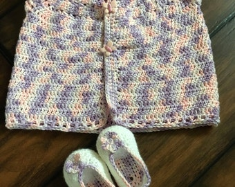 cardigan with matching blossom shoes