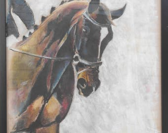 "Original Horse Art/Framed Charcoal/Pastel Drawing/Artwork 18""x24""/Black Wood Frame/""In Arena ""A"""" by Shay Roberts"