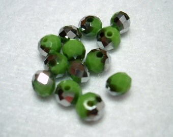 Green with Silver Splash Glass Rondelle Beads (Qty 12) - B2883