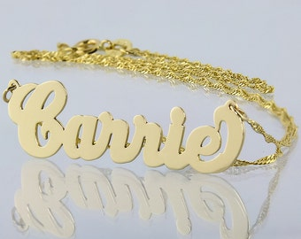 Small Solid 10kt or 14kt Yellow or White Personalized Carrie Name Necklace Laser Cut Fine Jewelry NN03