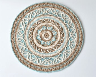 PATTERN - round crochet mandala with cables - overlay crochet - table and wall decoration - instant download