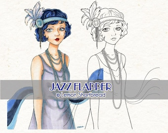 Digital Stamp Jazz Flapper Girl, Digi Download, Art Deco, Vintage Fashion Summer, Clip Art, Card Making, Coloring Page, Scrapbooking Supply