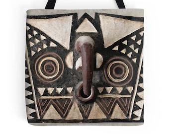 Tote Bag ~ Featuring Portrait of Bobo Bwa Hawk Mask / Ethnographic Art Image Series / Tribal Art ~ African Art
