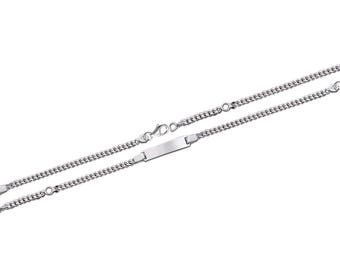Silver curb chain Bracelet for child with engraved name 61338205 16 cm