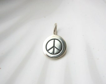 Sterling Silver Peace Sign Charm - Add On - Peace Symbol