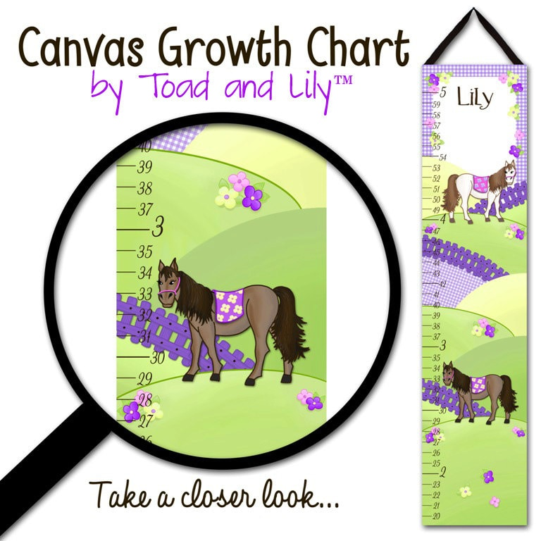 Canvas Growth Chart Pretty Purple Horses Pony Personalized