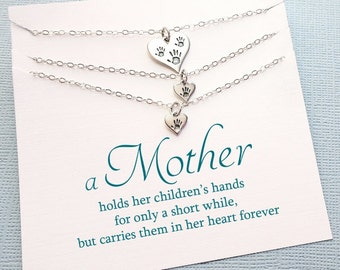 Twins Mother Daughter Gift Set | Handprint Necklace Jewelry Set, Gifts for Mom, Mommy and Me, Mothers Day Gift, Mom Necklace, Mom Gift |MD05