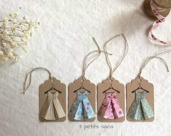 4 kraft tags, dresses paper folding origami, shades of blue, green and pink. vintage