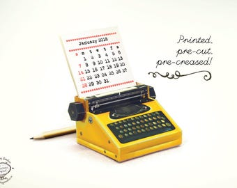 Printed Papercraft 2018 & 2019 DIY Paper Desk Calendar | Realistic YELLOW Typewriter Miniature | Pre-cut Pre-creased Kit Gift Friend Writer