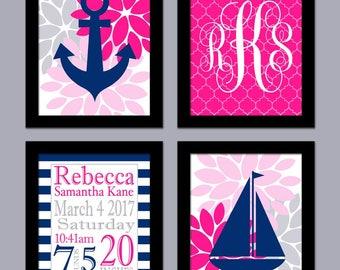 Navy and Hot Pink Wall Art - Girl Nursery Wall Art - Nautical Girl Nursery Art - Birth Announcement - Pink Navy Nursery Art